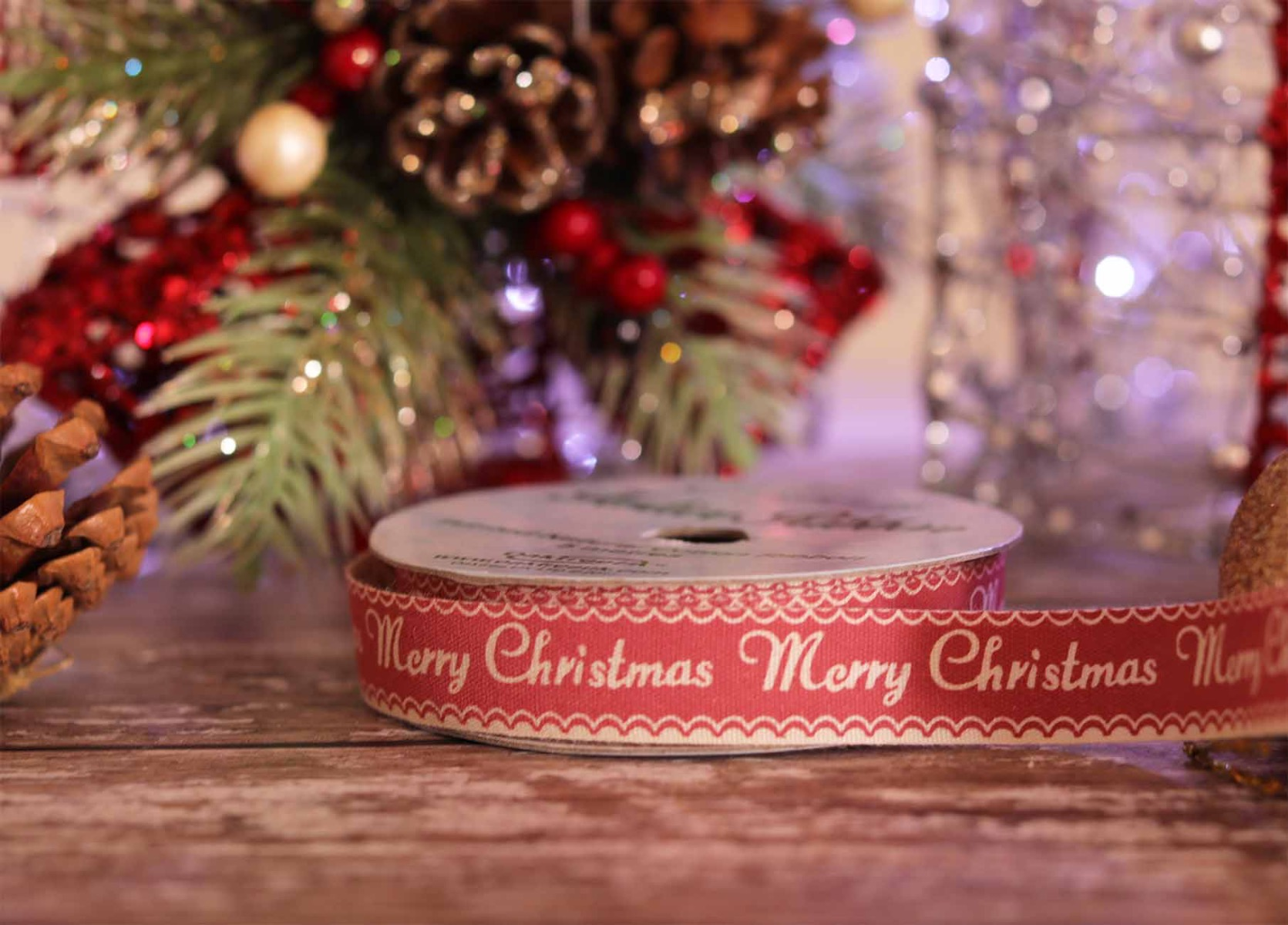 Pink Merry Christmas Cotton Ribbon
