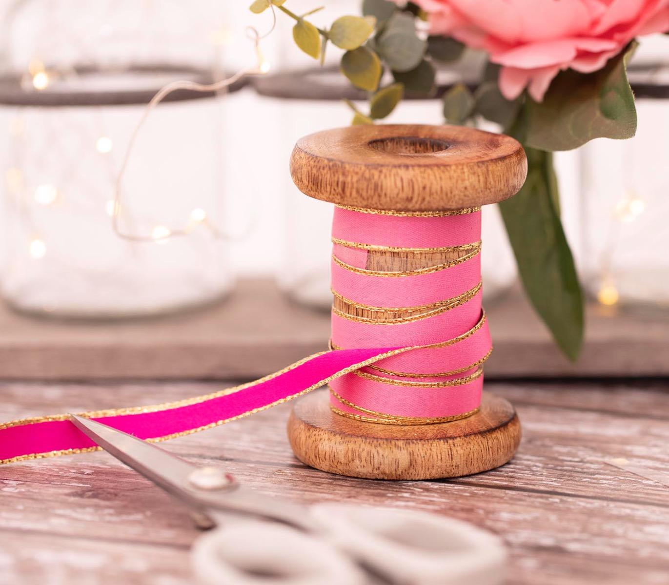 Pink reversible satin ribbon