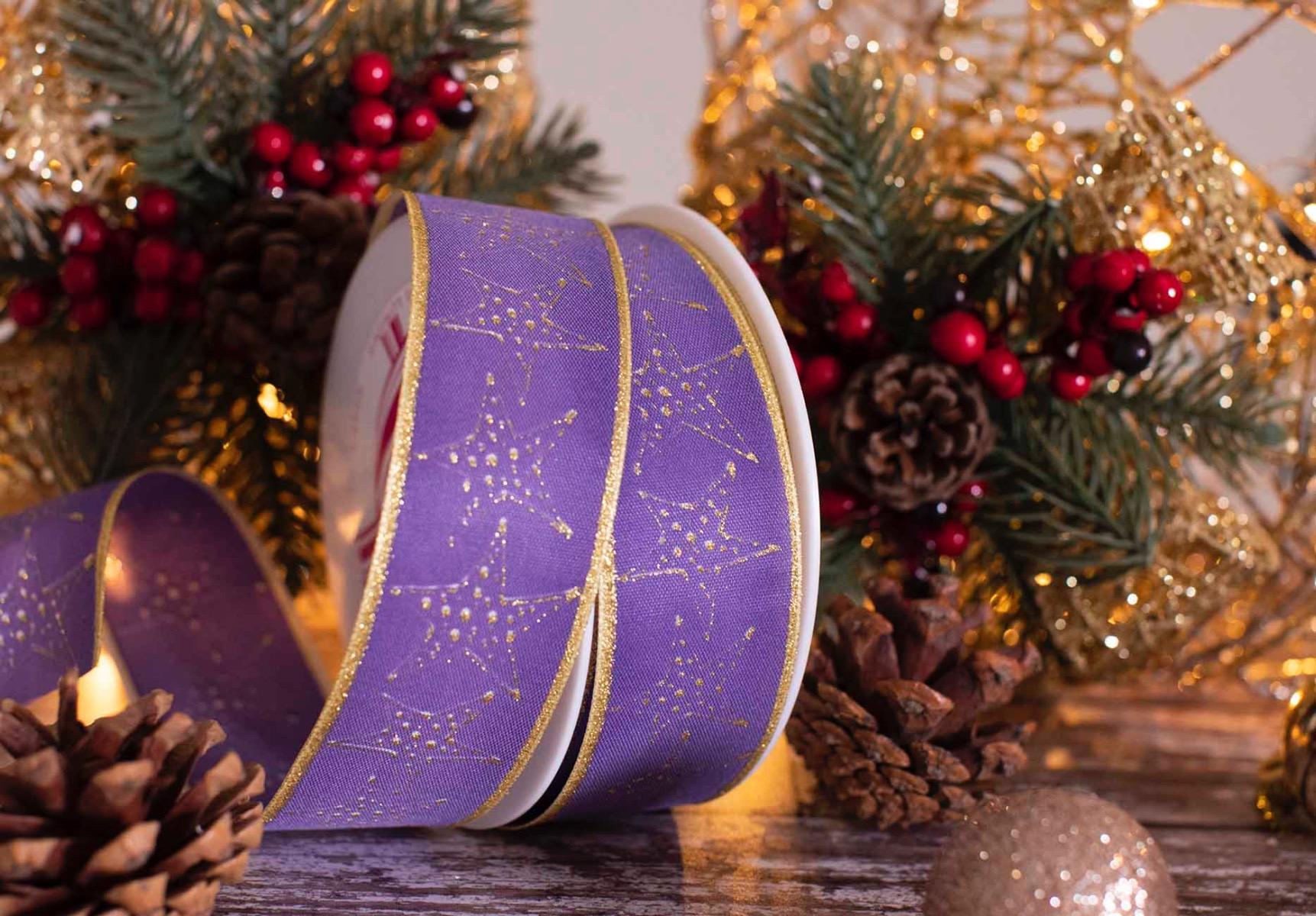 Purple Festive Ribbon With Gold Stars