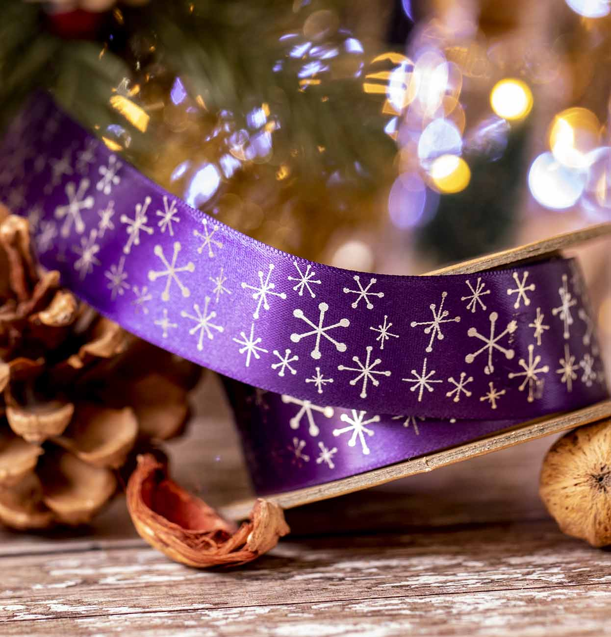 Purple Satin With Snowflake Design
