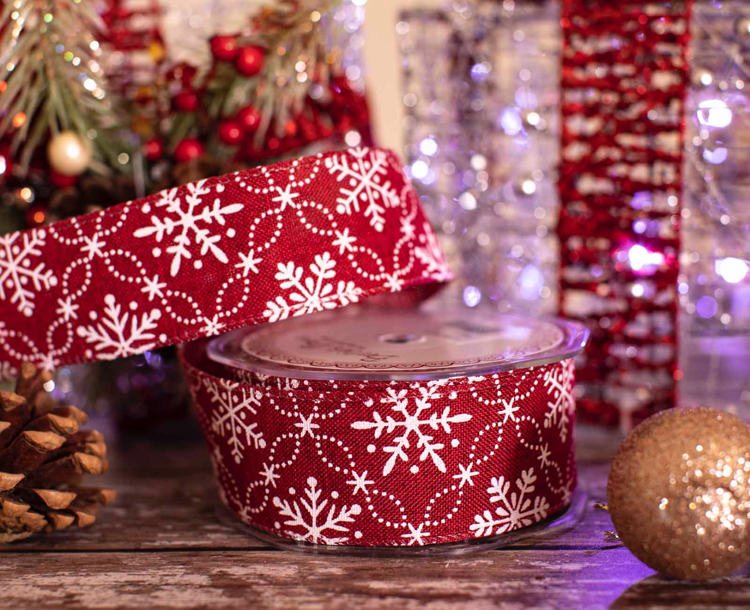 white Snowflake on red christmas ribbon