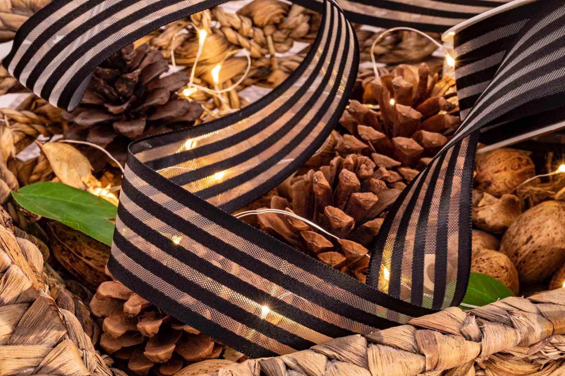 Black satin and sheer striped ribbon