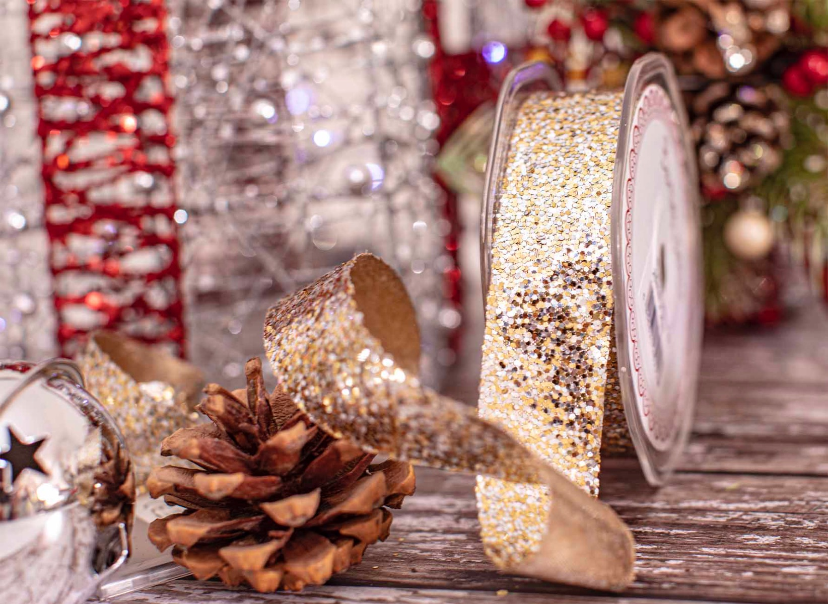 Silver and gold glitter ribbon