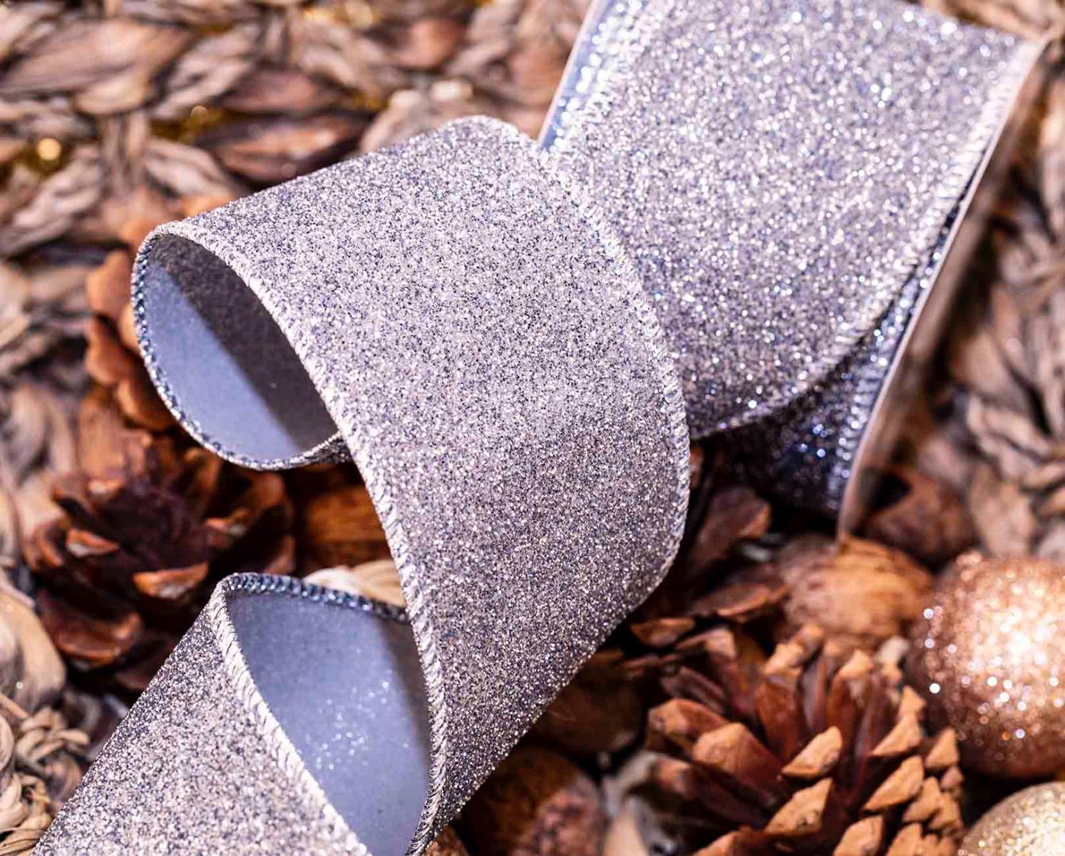 Graphite Silver Glitter Ribbon