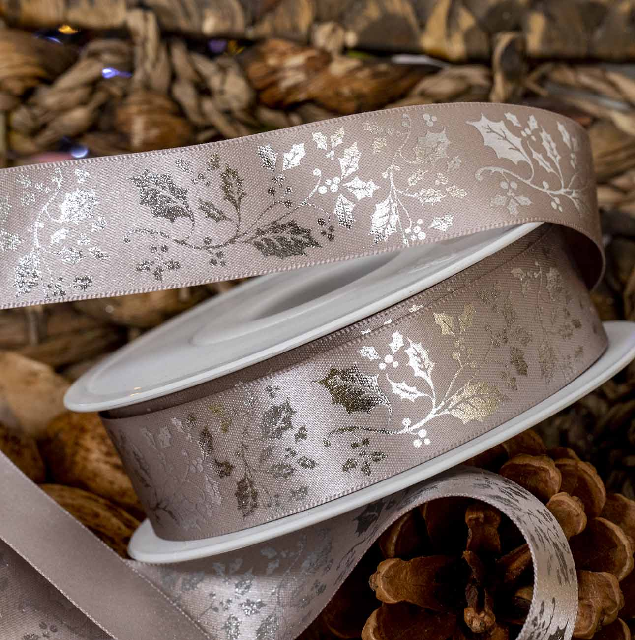 Silver Holly Design On Silver Ribbon