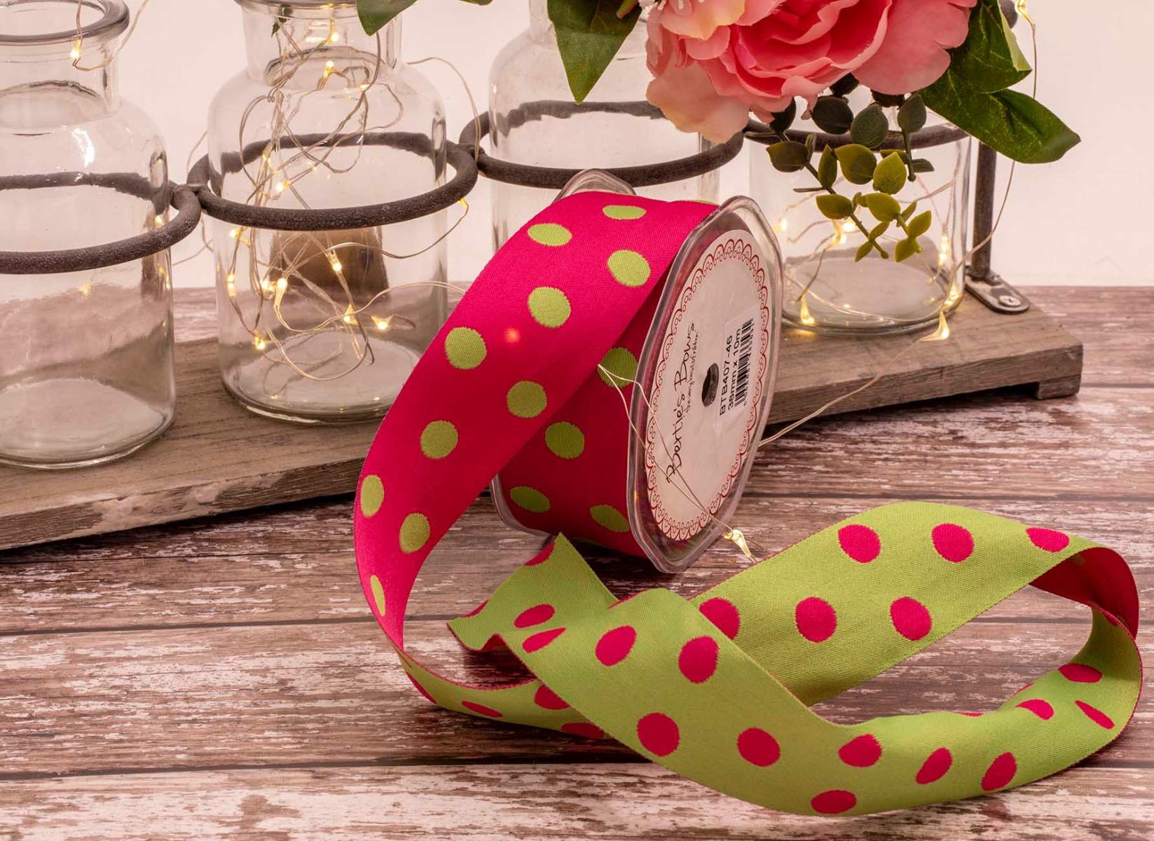 pink and green polka dot reversible ribbon